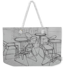 Weekender Tote Bag featuring the drawing Outdoor Seating - Pirates Alley - French Quarter by Jani Freimann