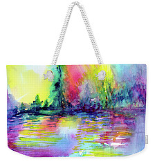Weekender Tote Bag featuring the painting Over The Rainbow by Allison Ashton