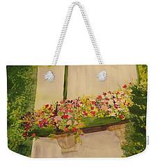 Weekender Tote Bag featuring the painting Overlooking Butchard Gardens  by Vicki  Housel