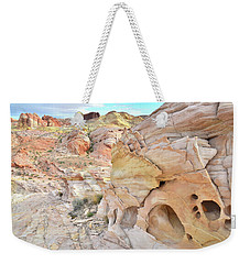Overlooking Wash 5 In Valley Of Fire Weekender Tote Bag by Ray Mathis