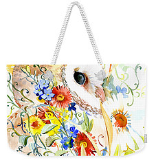 Owl And Flowers Weekender Tote Bag by Suren Nersisyan