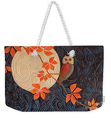 Weekender Tote Bag featuring the painting Owl And Moon On A Quilt by Nancy Lee Moran