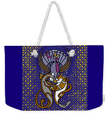 Weekender Tote Bag featuring the digital art Owl And Pussycat Married by Donna Huntriss