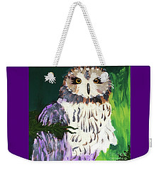 Weekender Tote Bag featuring the painting Owl Behind A Tree by Donald J Ryker III