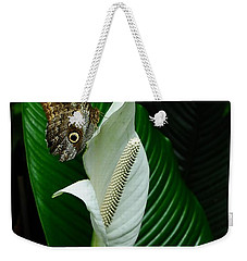 Owl Butterfly On Calla Lily Weekender Tote Bag