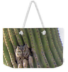 Owl In Cactus Burrow Weekender Tote Bag