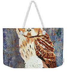 Weekender Tote Bag featuring the painting Owl On Snow by Donald J Ryker III