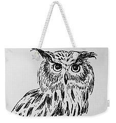 Owl Study 2 Weekender Tote Bag by Victoria Lakes
