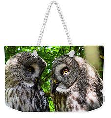Owl Talk Weekender Tote Bag by Rainer Kersten
