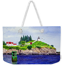 Owls Head Lighthouse Weekender Tote Bag by Mike Robles