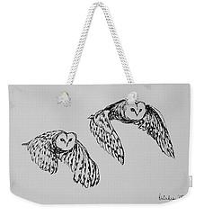 Owls In Flight Weekender Tote Bag by Victoria Lakes