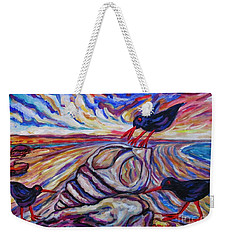 Oyster Catchers At Stuck On Sandy Beach Weekender Tote Bag