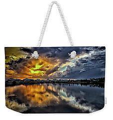 Oyster Lake Sunset Weekender Tote Bag by Walt Foegelle