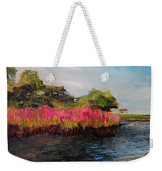 Weekender Tote Bag featuring the painting Oyster Pond Falmouth by Michael Helfen