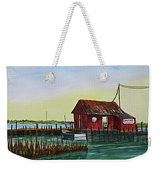 Weekender Tote Bag featuring the painting Oyster Shack by Jack G Brauer