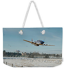 Weekender Tote Bag featuring the digital art P51 Mustang - Bodney Blue Noses by Pat Speirs