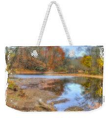 Pa Country Roads - Neshaminy Creek Near Schofield Ford Covered Bridge - Autumn Bucks County Weekender Tote Bag