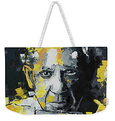 Weekender Tote Bag featuring the painting Pablo Picasso Portrait by Richard Day