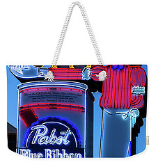 Pabst Blue Ribbon Neon Sign Fremont Street Weekender Tote Bag by Aloha Art