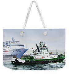 Weekender Tote Bag featuring the painting Pacific Escort Cruise Ship Assist by James Williamson