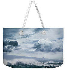 Weekender Tote Bag featuring the photograph He Inoa Wehi No Hookipa  Pacific Ocean Stormy Sea by Sharon Mau
