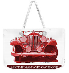 Weekender Tote Bag featuring the digital art Packard Ask The Man Red by David King