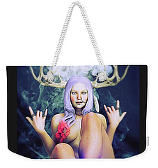 Weekender Tote Bag featuring the painting Pagan Paradise by Baroquen Krafts