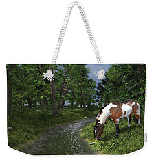 Paint Horse By The Forest Stream Weekender Tote Bag