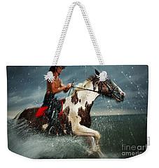 Paint Horse Running In The Water Weekender Tote Bag
