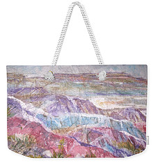 Weekender Tote Bag featuring the painting Painted Desert by Ellen Levinson