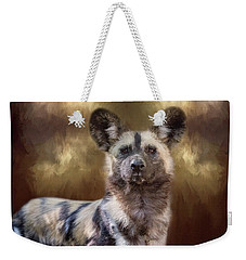 Weekender Tote Bag featuring the digital art Painted Dog Portrait II by Nicole Wilde
