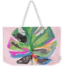 Weekender Tote Bag featuring the mixed media Painted Palm Leaf 2- Art By Linda Woods by Linda Woods