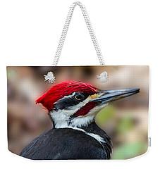 Weekender Tote Bag featuring the painting Painted Pileated Woodpecker by John Haldane