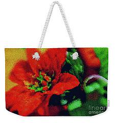 Painted Poinsettia Weekender Tote Bag
