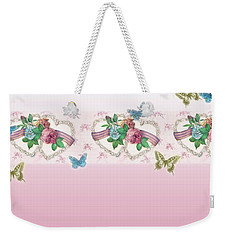 Weekender Tote Bag featuring the painting Painted Roses With Hearts by Judith Cheng