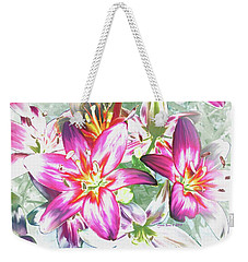 Painterly Pink Tiger Lilies Weekender Tote Bag by Annie Zeno