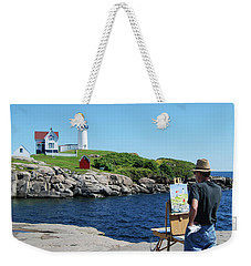 Painting Nubble Lighthouse Weekender Tote Bag