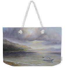Weekender Tote Bag featuring the painting Beach By Sruce Run Lake In New Jersey At Sunrise With A Boat by Katalin Luczay