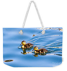 Weekender Tote Bag featuring the photograph Duckling Duo by Kate Brown