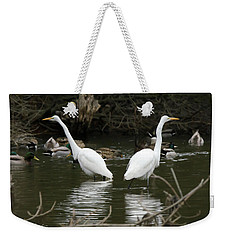 Weekender Tote Bag featuring the photograph Pair Of Egrets by George Randy Bass