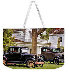 Weekender Tote Bag featuring the photograph Pair Of Ford Model A  by Susan Rissi Tregoning