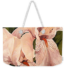 Weekender Tote Bag featuring the painting Pair Of Peach Iris  by Laurie Rohner