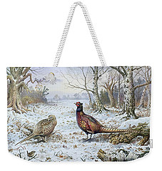 Pair Of Pheasants With A Wren Weekender Tote Bag by Carl Donner