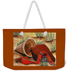 Weekender Tote Bag featuring the painting Paiute Baskets by Jennifer Lake
