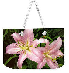 Weekender Tote Bag featuring the photograph Pale Pink Beauties by Sue Melvin