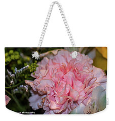 Pale Pink Carnation Weekender Tote Bag by Nance Larson