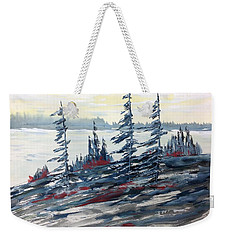 Pale Sky Over The Lake - Pour Michel Weekender Tote Bag