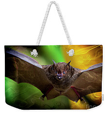 Weekender Tote Bag featuring the photograph Pale Spear-nosed Bat In The Amazon Jungle by Al Bourassa