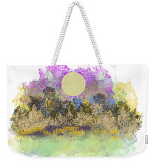 Weekender Tote Bag featuring the digital art Pale Yellow Moon by Jessica Wright