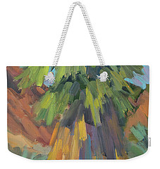 Weekender Tote Bag featuring the painting Palm At Santa Rosa Mountains Visitors Center by Diane McClary